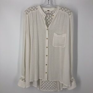 Free People Crochet Hi-low Button-up